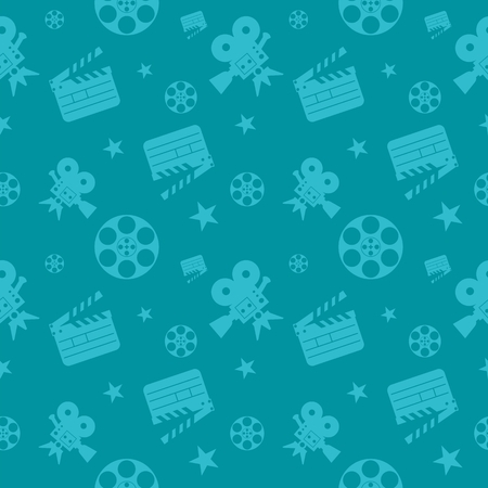 Blue cinema concept seamless pattern. Flat vector cartoon cinema illustration. Objects isolated on a white background. Flat vector cartoon illustration. Objects isolated on a white background.