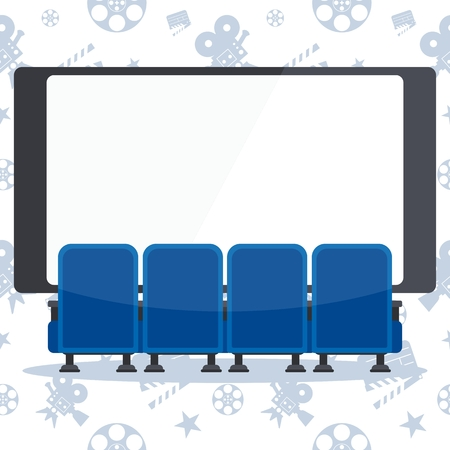 Auditorium and four blue comfortable armchairs in the cinema. Ilustrace