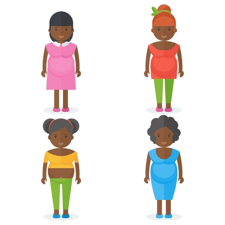 Set of Afro-American pregnant women in bright clothes. Flat vector cartoon illustration.