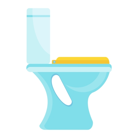 White home clean hygienic toilet bowl. Flat vector cartoon illustration. Objects isolated on a white background. Ilustração
