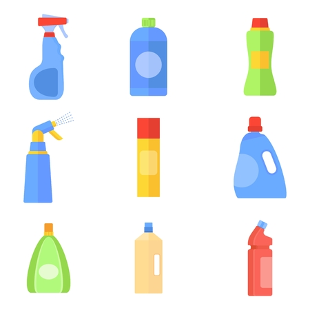 Cleaning products tools and equipment. Flat vector cartoon illustration. Objects isolated on a white background.