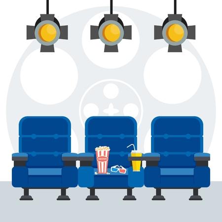 blockbuster: Auditorium and three blue comfortable armchairs in the cinema under spotlight.