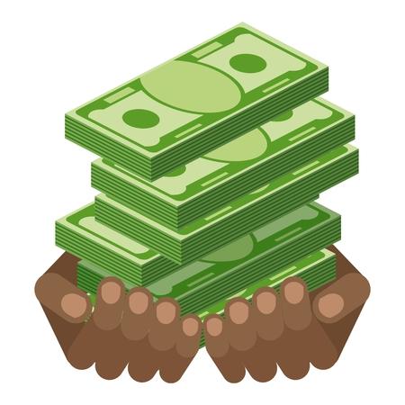 Hand met stapel geld bankbiljetten. Symbool van rijkdom, succes en veel geluk. Bank en financiën. Platte vector cartoon illustratie. Objecten geïsoleerd op een witte achtergrond.