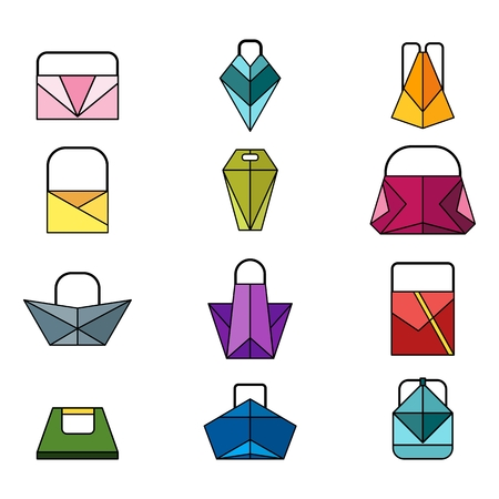 pouch: Set of color origami bag Illustration