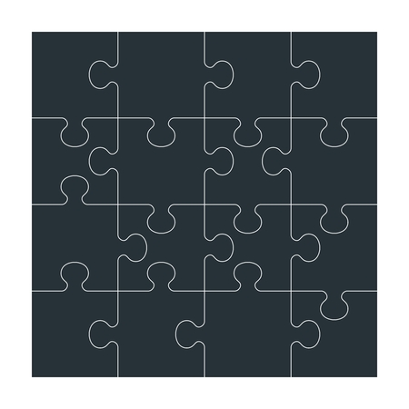 Business concept puzzles. Flat vector cartoon illustration. Objects isolated on a white background.