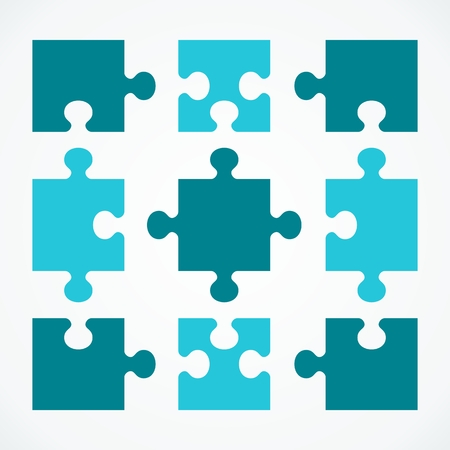 Bedrijfsconcept puzzels. Platte vector cartoon illustratie. Objecten geïsoleerd op een witte achtergrond. Vector Illustratie