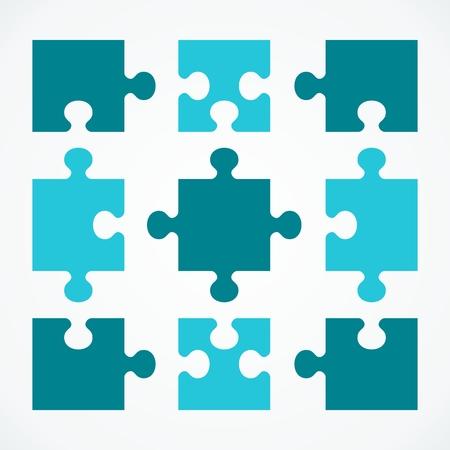 Puzzles de concept d'affaires. Illustration de dessin animé de vector plate Objets isolés sur fond blanc Vecteurs