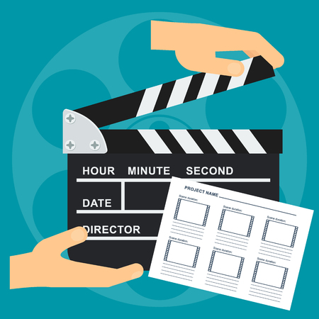 Hand holds black open clapperboard with Storyboard template. Movie clapper board. Movie logo. Flat vector cartoon illustration. Çizim