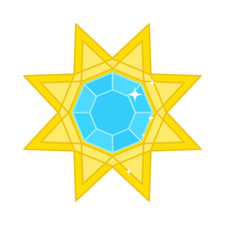 Gold precious star with precious stone, brilliant Illustration