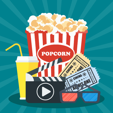 broadsheet: Cinema concept poster template with popcorn bowl, film strip and tickets, realistic detailed vector illustration Illustration