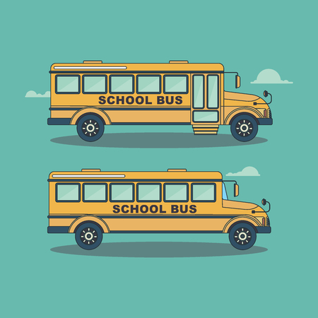 Retro bright, modern yellow school bus for tchildren, pupils and students between house and school, educational institution. Flat vector cartoon illustration. Objects isolated on a white background.