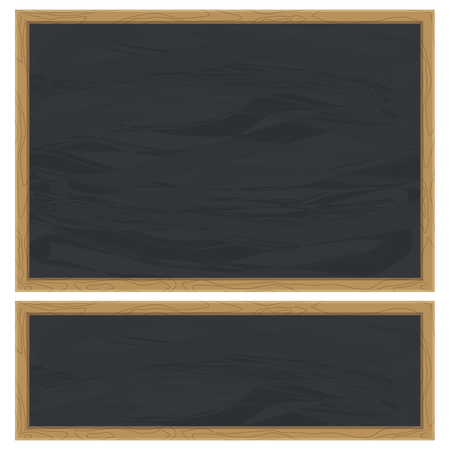 Blank blackboard and green chalkboard background. Whiteboard in classroom template.Back to school chalkboard texture. Flat vector cartoon illustration. Objects isolated on a white background.