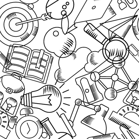 Back to school. Seamless pattern with sketch school supplies. Whiteboard in classroom template. Chalkboard texture. Flat vector cartoon objects isolated on white background. Illustration
