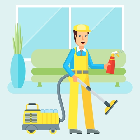 bathroom design: Clean, worker of cleaning service. Man in a uniform cleaning apartment vacuum cleaner and air freshener. Flat vector cartoon character isolated on white background.