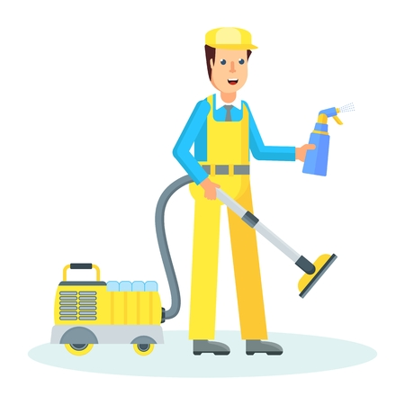 Clean, worker of cleaning service. Man in a uniform cleaning apartment vacuum cleaner and air freshener. Flat vector cartoon character isolated on white background.