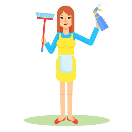 Clean, worker of cleaning service. Woman in uniform holds tools for cleaning as bucket, broom and brush. Flat vector cartoon character isolated on white background. Illustration
