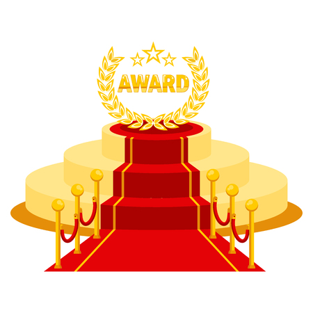 Red carpet entrance on event for vip person. Award podium for famous and celebrities, winner, actor, producer and businessmen.