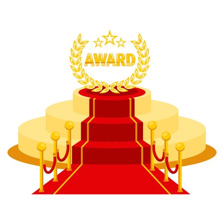 VIP 사람을위한 행사에 레드 카펫 입구. 유명한 연예인, 수상자, 배우, 프로듀서 및 사업가를위한 상 표창장.