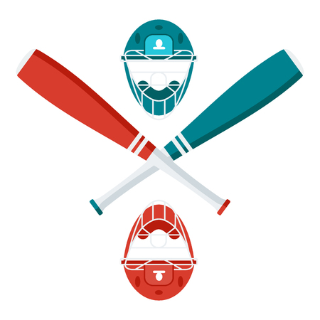 Baseball logo with bats and helmet. Flat vector cartoon illustration. Objects isolated on a white background.