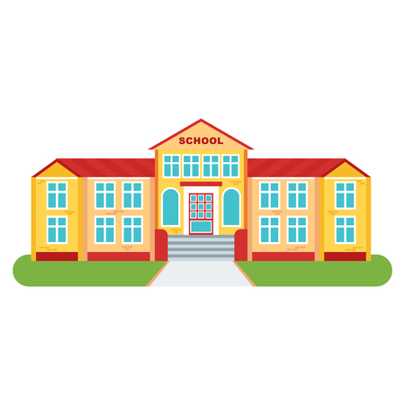 Bright, beautiful, clean and bright high school building for children and students. Back to school icon. Flat vector cartoon illustration. Objects isolated on a white background. Illustration