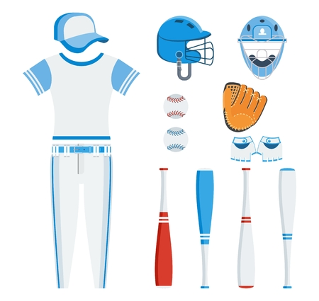 Baseball equipment set. Bat, ball, softball gloves, batting helmet. Flat vector cartoon illustration. Objects isolated on a white background.