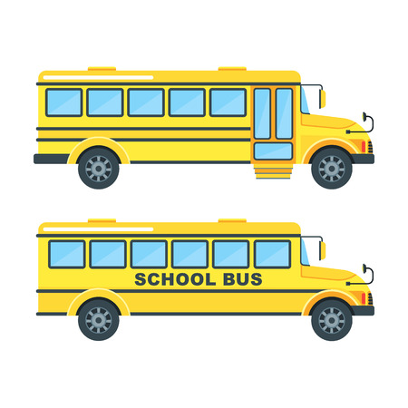Bright, modern yellow school bus for children, pupils and students between house and school, educational institution. Flat vector cartoon illustration. Objects isolated on a white background. Illustration