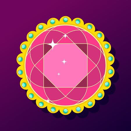 Gem in a golden openwork frame with colored pearls. Flat vector cartoon illustration. Objects isolated on purple background.