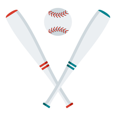 Baseball logo with bats and ball. Flat vector cartoon illustration. Objects isolated on a white background. Illustration