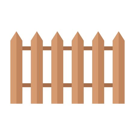 Old wooden fence in village in garden. Flat vector cartoon illustration. Objects isolated on a white background.