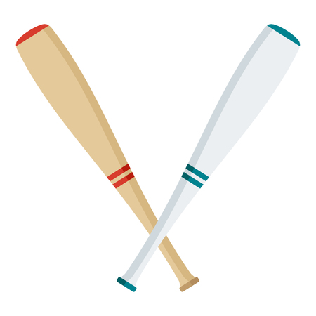 Wooden and white baseball bat. Flat vector cartoon illustration. Objects isolated on a white background.