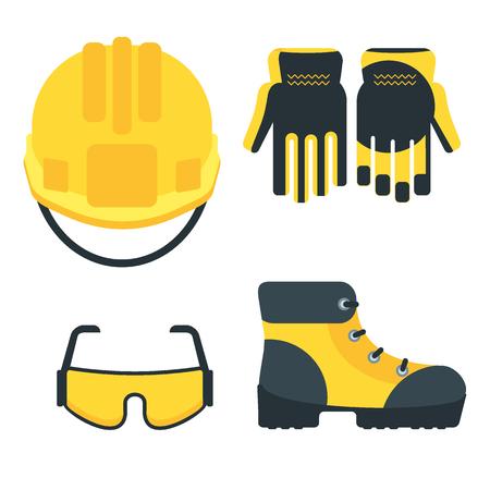 보호 장비 아이콘의 집합입니다. 수리, 건설 및 작성기 도구의 개념적 이미지. 작업 착용의 컨셉 이미지입니다. 만화 플랫 벡터 일러스트 레이 션. 배경