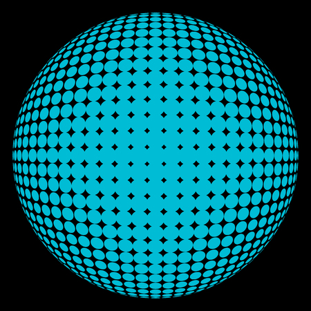 Abstract round 3d blue sphere consisting of dots in form of halftone. Scientific and technical frame illustration. Flat vector cartoon illustration. Objects isolated on black background. Illustration