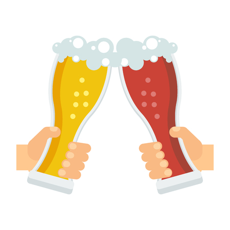 Hands holding beer mug, beer bottle and glass. Beer feast, bar menu, restaurant menu. Flat vector cartoon illustration. Objects isolated on a white background.