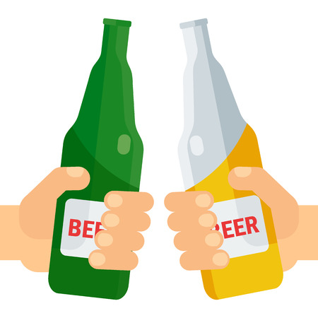 patrics: Hands holding beer mug, beer bottle and glass. Beer feast, bar menu, restaurant menu. Flat vector cartoon illustration. Objects isolated on a white background.