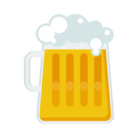 patrics: Large glass mug of beer with a light foamy beer. Beer feast, bar menu, restaurant menu. Flat vector cartoon illustration. Objects isolated on a white background. Illustration