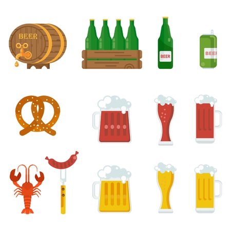 patrics: Beer icons set. Beer feast, bar menu, restaurant menu. Flat vector cartoon illustration. Objects isolated on a white background. Illustration