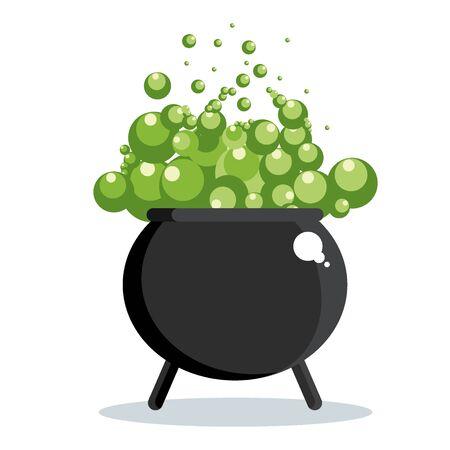 Calderone strega nera con pozione verde gorgogliante. Icona di Halloween. Illustrazione di cartone animato vettoriale piana. Oggetti isolati su uno sfondo bianco.