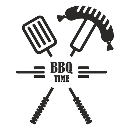 BBQ logo. Flat vector cartoon illustration. Objects isolated on a white background.