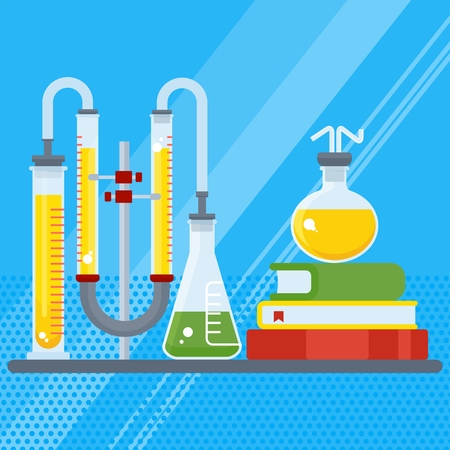 chemical laboratory with book