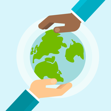 hand holding globe: Two hands hold a blue planet earth. Symbol of respect for nature and environment. Flat vector cartoon illustration. Objects isolated on a white background.