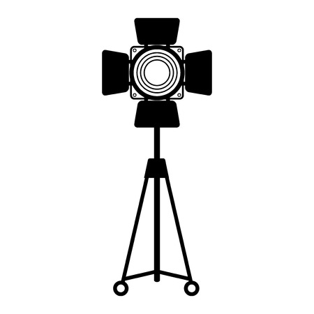 Spotlight for film, photo and video studio. Equipment for stage at concert, performance and festival. Flat vector cartoon illustration. Objects isolated on a white background.