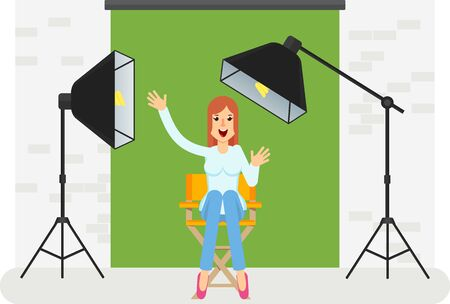 Young cheerful girl sitting on high chair of producer in photo studio for video. Equipment for movies, advertising, photographers. Softbox, camera, searchlight. Flat vector cartoon illustration.