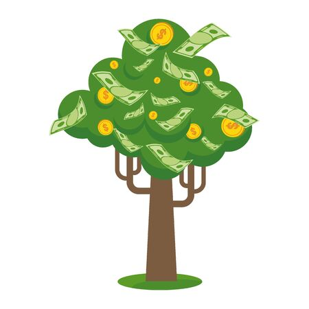 Us Banks Money Tree >> Money Tree With Gold Coins And Paper Dollars Symbol Of Success