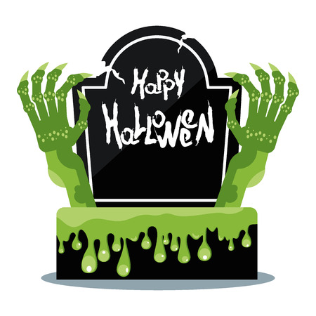 Scary green clawed hands ghouls goiter. Viscous slime flows down gravestone on cemetery. Flat vector cartoon decoration for advertising and invitation cards for Halloween.