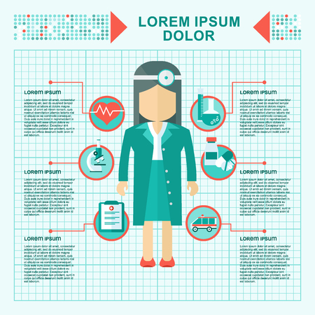 Vector woman doctor. Medicine health care services concept. Medical infographics elements. Objects isolated on white background. Flat cartoon vector illustration. Illustration