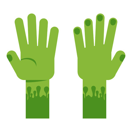 Scary green clawed hands ghouls goiter. Flat vector cartoon decoration for advertising and invitation cards for Halloween.