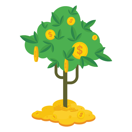 Us Banks Money Tree >> Money Tree With Dollar Coins Black Icon Symbol Of Success Wealth