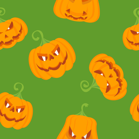Halloween seamless pattern with orange pumpkin. festive decoration of advertising and congratulatory products. Flat vector cartoon illustration. Objects isolated on green background.