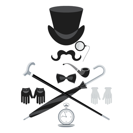 Set of vintage retro secular gentleman accessories. Hours, hats, details of wardrobe. Flat vector cartoon illustration. Objects isolated on a white background.