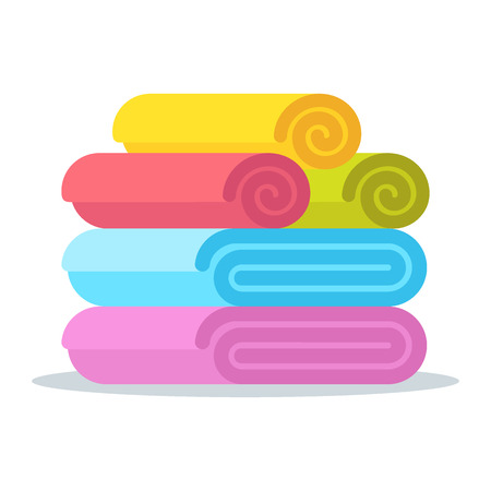 rolled up: Set of rolled up colored towels. Flat vector cartoon illustration. Objects isolated on a white background. Illustration